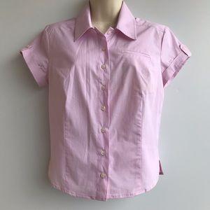Bebe Pink Gingham Short Sleeve Button Up Shirt